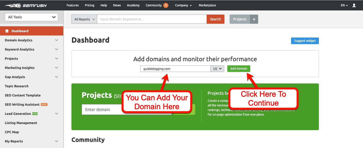 SEMrush-Add-Domain